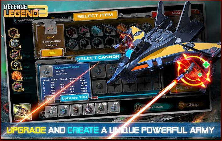 Defense Legend 3 weapons