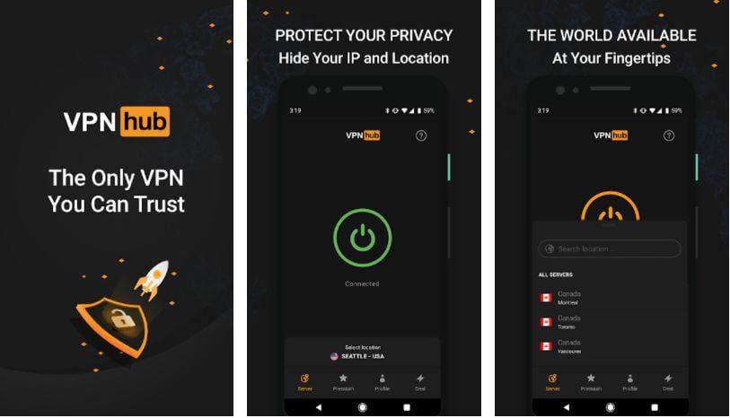VPNhub features
