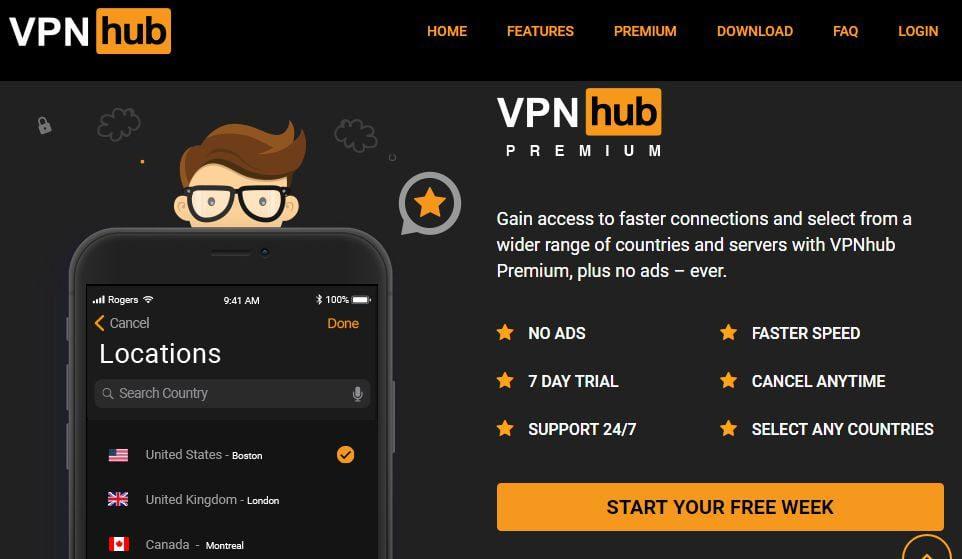 VPNhub Premium feature